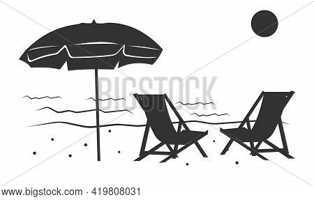 An Icon Of A Sandy Beach On The Beach With An Umbrella And Chairs For Vacationers.