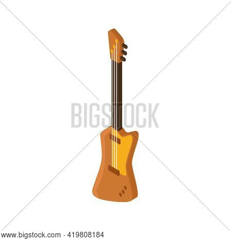 Pawn Shop Isometric Composition With Isolated Image Of Electric Guitar Vector Illustration