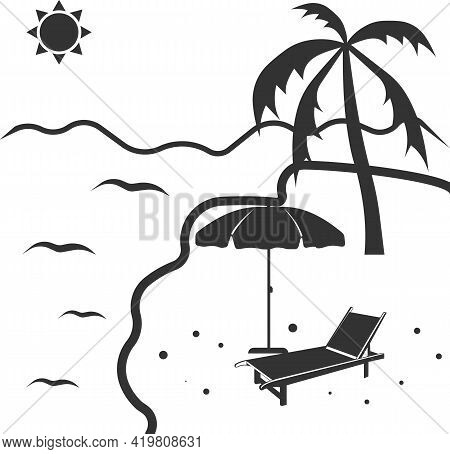 Beach Icon With Parasol, Sun Lounger And Palm Tree By The Water.