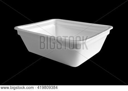 Disposable Plastic Lunch Box Isolated On Black Background. Plastic Container Isolated. Single-use Pl