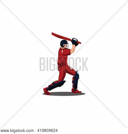 Cricket Athlete Hitting The Ball On Cricket Game - Sport Man Cartoon Hitting The Ball Isolated On Wh