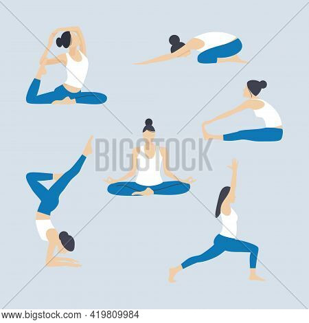 Set Of Slender Young Woman Doing Yoga And Fitness. Healthy Lifestyle. Vector Illustration.
