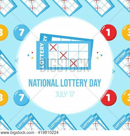 National Lottery Day Greeting Card With Cute Cartoon Style And Lottery Numbered Balls Seamless Patte