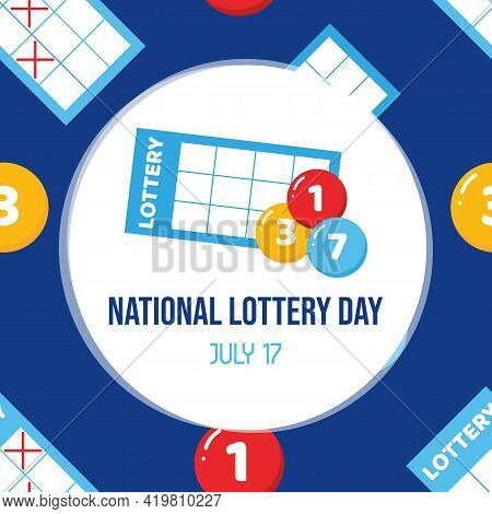 National Lottery Day Greeting Card With Cute Cartoon Style Lottery Tickets And Lottery Numbered Ball