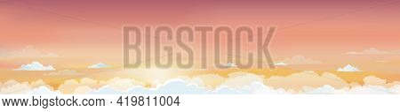 Sunrise In Morning With Orange,yellow And Pink Sky With Cloudscapes, Dramatic Twilight Landscape Wit