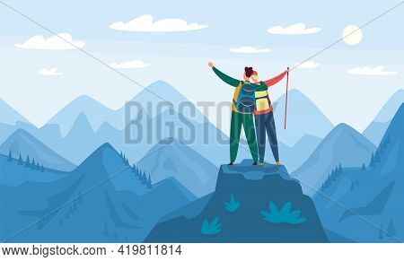 Mountain Hiking. Tourists Standing On Top Of Hill. Hiking And Climbing Activity, Outdoor Recreation.