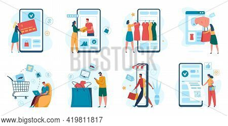 Online Shopping. Customer Purchasing With Smartphone, Online Store Checkout. Mobile App Payment, E-c