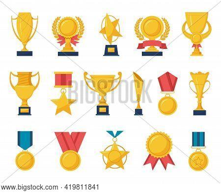 Golden Reward. Gold Trophy Cups, Champion Medals, Laurel Wreath Awards, Sport Game Winner Rewards Wi
