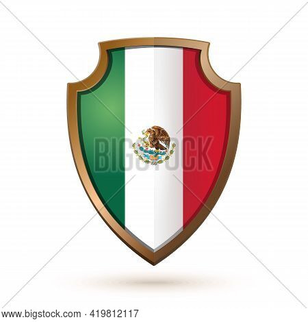 Golden Shield With Mexico Flag Isolated On White. Vector Illustration