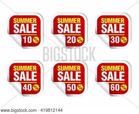 Summer Sale Red Sticker Icon Set. Sale 10%, 20%, 30%, 40%, 50%, 60% Off. Vector Illustration