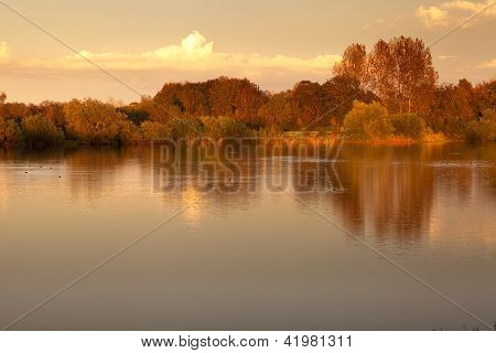 Autumn Lakeside Sunset