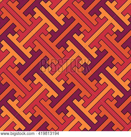 Seamless Pattern. Chinese Sayagata Backdrop. Repeated Interlocking Figures Vector. China Ornament. T