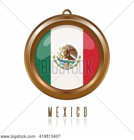 Round Gold Medallion With The Flag Of Mexico Inside. Round Keychain With Mexico Flag Isolated On Whi