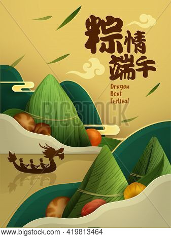 Dragon Boat Festival Rice Dumpling And Ingredient Recipe On Paper Graphic Mountain Scene Background.
