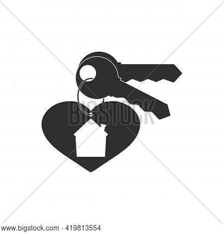 Keychain With Key Ring, Pendant House Locket With Heart, Two Keys. Vector Icon. Clipart And Drawing.