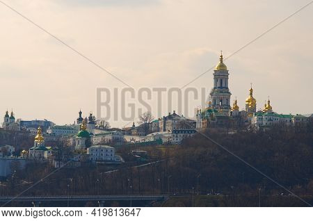 Scenic Spring View Of Famous Kyiv's Hills Against Blue Sky. Scenic Landscape Of Ancient Kyiv Pechers