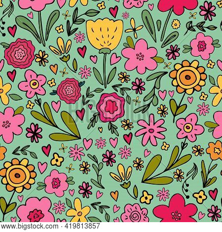 Seamless Pattern With Big Set Of Hand Drawn Simple Floral Doodles - Flower, Herb, Branch, Heart. Cut