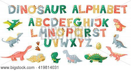 Cartoon Cute Dinosaur Alphabet. Dino Font With Letters. Children Vector Illustration For T-shirts, C