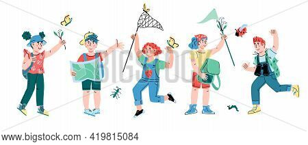Group Of Cheerful Summer Kids, Little Tourists Or Campers, Explorers Cartoon Vector Illustration Iso