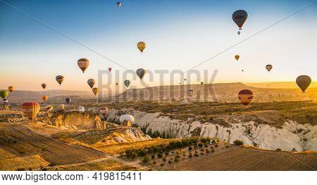Cappadocia, Turkey - November 15, 2014: Hot Air Balloon being hot air filled with flame. Cappadocia, Turkey.