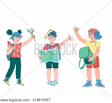 Kids Going To Travel And Explore Nature. Little Tourists And Explorers, Scouts Or Campers Children C