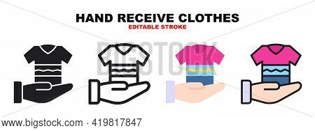 Hand Receive Clothes Icon Set With Different Styles. Icons Designed In Filled, Outline, Flat, Glyph