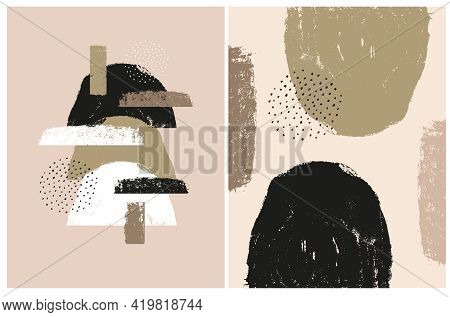 Set Of 2 Abstract Geometric Vector Illustration. White, Green And Black Grunge Semi Circles, Spots A