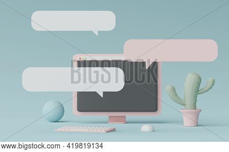 3d Render Minimal Pastel Mini Computer For Work With White Copy Space For Mock Up And Creative Desig
