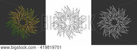Set Of Linear Flower Patterns For Scrapbooking, Impression, Stamp, Figure Carving And Creative Desig