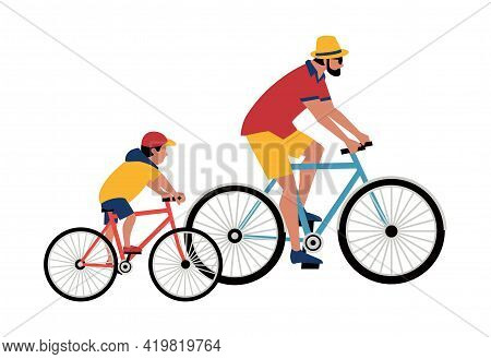 Dad, Son Ride Bicycle Flat Color Vector. Father, Baby Kid Cute Cartoon Design Element. Family Active