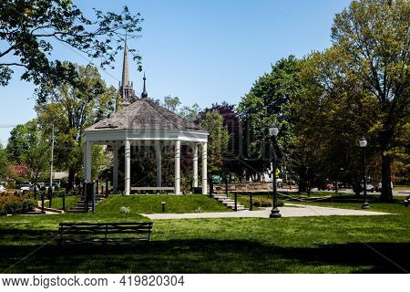 NORWALK, CONNECTICUT, USA - MAY 6, 2021:  Gazebo on The Green at Norwalk in nice spring day