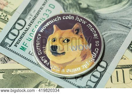 Dogecoin Doge Included With Cryptocurrency Coin On Stack 100 Hundred New Us Dollar Money American Vi