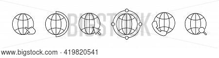 Globe Vector Line Icon Set. Simple Globe Icons Collection. Global Business Network. Technology Netwo