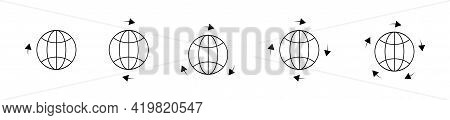Around Earth, World Globe Icons Set. Travel Around The World Icons. Travel Concept. Modern World Glo