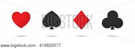 Playing Card Suits Vector Set. Spades Hearts Diamonds And Clubs Icons Isolated On White Background.