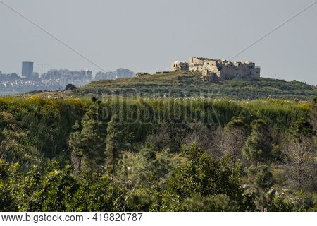 Rosh Haayin, Israel - March 29th, 2021: The Ancient Historic Building At The Top Of The Hill In Migd