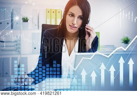 Attractive Brunette Businesswoman Or Stock Trader Analyzing Stock Graph Forecast, Business Woman Usi