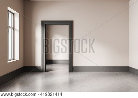 Empty Hall Interior In Modern Apartment With Window, Grey Floor And Door To The Next Room. Mockup Bl