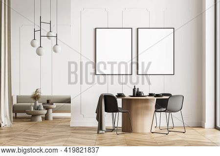 Modern Living Dining Room Interior With Wooden Floor, Furniture, Table And Chairs. Sofa. Home Archit