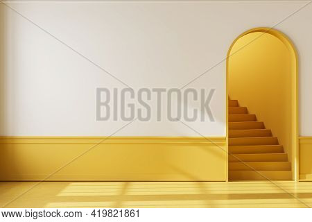 Bright Hall Interior In Apartment With Yellow Floor And Staircase With Arch Door. Mockup Blank Copy