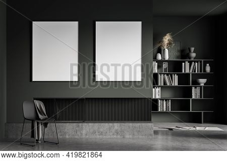 Dark Living Room Interior With Grey Chair With Blanket, Bookshelf On Background, Minimalist Art Room