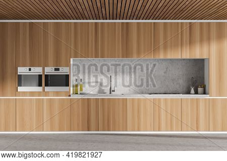 Interior Of Modern Kitchen With Wooden Ceiling, Furniture. Big Cooking Area. Home Architecture Conce
