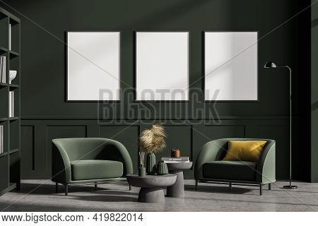Modern Living Room Interior With Concrete Floor, Furniture, Table And Armchairs. Home Architecture C