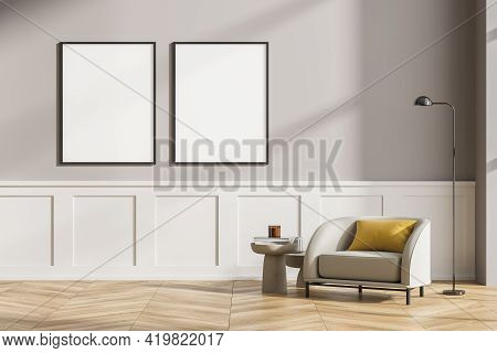 Modern Living Room Interior With Wooden Floor, Furniture, Table And Armchair. Home Architecture Conc