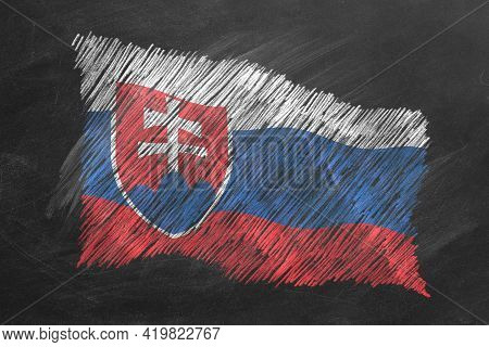 National Flag Of Slovakia Hand Drawn With Chalk On Blackboard. Flag Waving In Wind. One Of A Large S