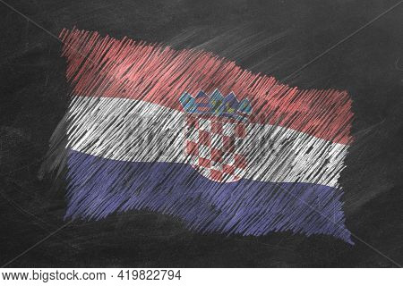 National Flag Of Croatia Hand Drawn With Chalk On Blackboard. Flag Waving In Wind. One Of A Large Se