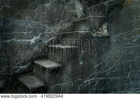 Beautiful Grunge Ancient Abandoned Stone Or Concrete Stairs (staircase) With Cracks And Traces Of Ag