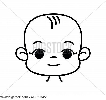 Baby Head Lines Black And White Flat. Vector Logo Baby Newborn In Cartoon Baby Style. Isolated Funny