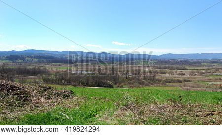 Panorama Of The Jadar River Valley In Western Serbia Near The Town Of Loznica. Jadar Is A Unique, Wo
