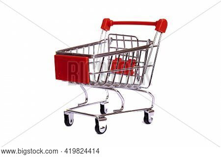 Small Decorative Cart Isolated On White Background Close Up